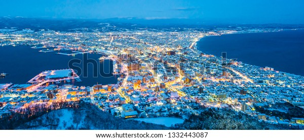 Beautiful landscape and cityscape from Mountain Hakodate for look around city skyline building and architecture at night