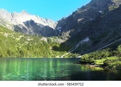 Beautiful landscape, clear blue lake in the mountains.