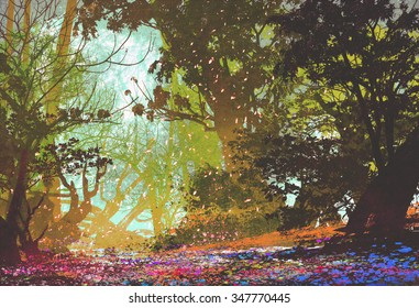 beautiful landscape with colorful forest,illustration painting