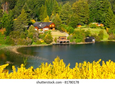 Beautiful landscape with cottage near a lake and trees in Villa La Angostura, Patagonia, Argentina