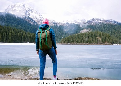 Beautiful landscape. Crno Lake. National park Durmitor and Black Lake. Zhablyak, Montenegro. Young girl tourist