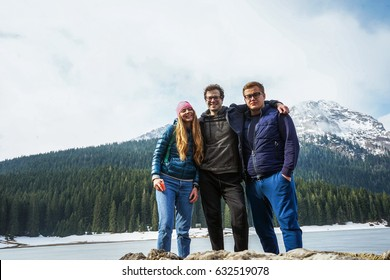 Beautiful landscape. Crno Lake. National park Durmitor and Black Lake. Zhablyak, Montenegro.Young people looks at a landscape