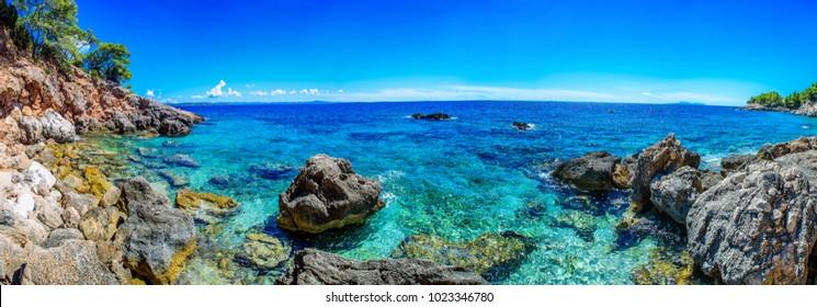 Beautiful landscape of Croatia, Croatia coast, sea and mountains. Panorama