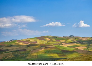 Beautiful landscape of cultivated land in Sicily in springtime. Blue sky with clouds.