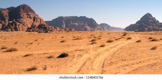 beautiful landscape of the desert in Jordan