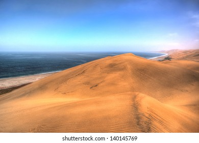 Beautiful landscape with dunes and ocean