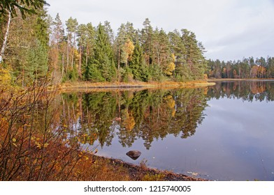 Beautiful landscape during autumn in the southern part of Sweden close to Markaryd.