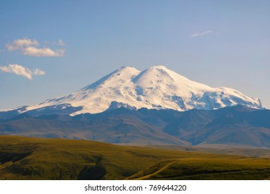 Beautiful Landscape of Elbrus in Caucasus mountain at sunny Day. Elbrus Region, North Caucasus, Russia