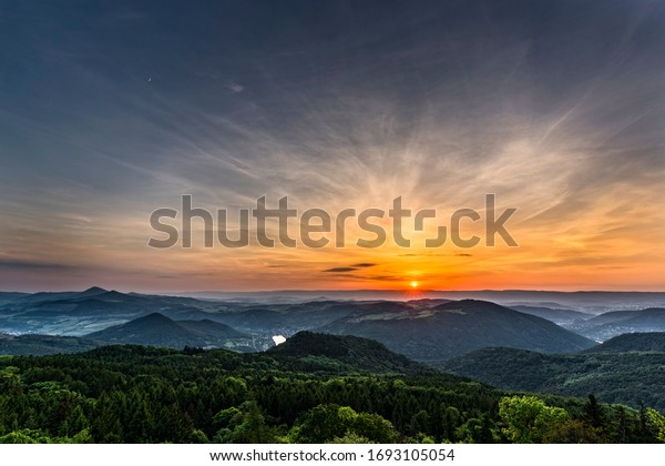 Beautiful landscape in the evening light. Central Europe. Czech Republic.