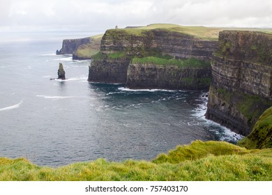 Beautiful landscape at the famous Cliffs of Moher and  O'Brien's Tower in Co. Clare, Europe, ireland