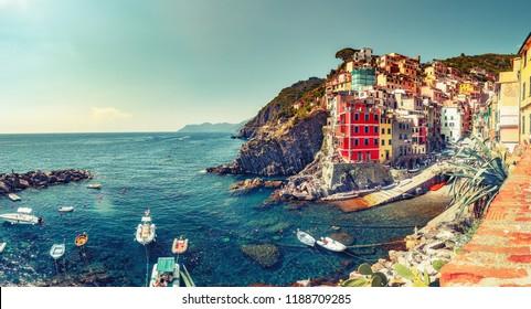 Beautiful landscape of famous Manarola village in Cinque Terre, Italy. Scenic panorama view.