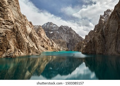Beautiful landscape of famous mountain Lake Kel Suu. Located near Chinese border in Kyrgyzstan