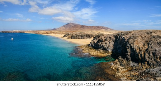 Beautiful landscape of famous Papagayo Beach on the Lanzarote Island, Canary, Spain. Travel destination. Nature background