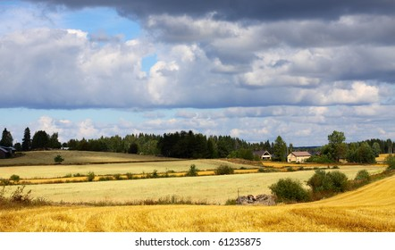 beautiful landscape with farm, fields and sky