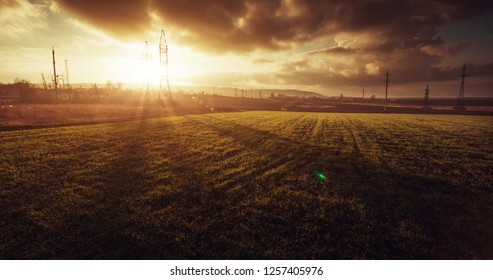 Beautiful landscape of the field. Sunset. Beginning of winter