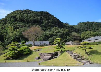 Beautiful landscape with flowers and trees in Sengan-en, Kagoshima, Japan.