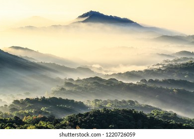 Beautiful landscape and fog in winter at Chiangmai : Thailand