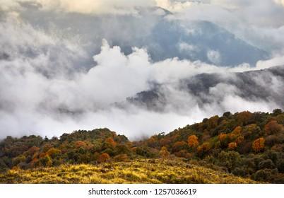 Beautiful landscape foggy hills of Himalaya Mountain in Nepal