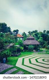 beautiful landscape garden with mountainous nature. Warung Desa park