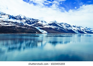 beautiful landscape of glaciers and snow capped mountains in college fjord alaska usa