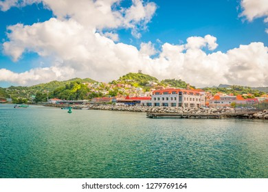 Beautiful landscape of Grenada, St George's town. View from the ocean.