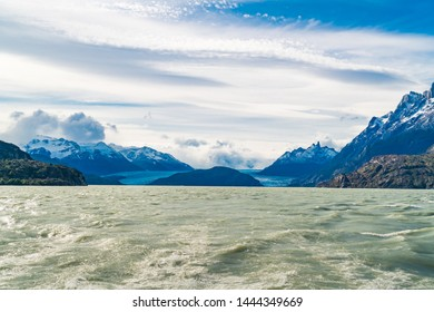 Beautiful landscape of Grey Glacier and Grey Lake at Torres del Paine National Park in Southern Chilean Patagonia Ice Field Chile