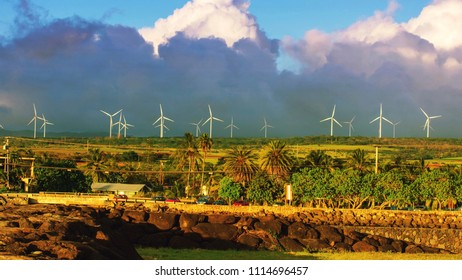 Beautiful landscape from Haleiwa town Countryside with wind turbines or windmill electricity turbines on the hill background Oahu island, Hawaii USA