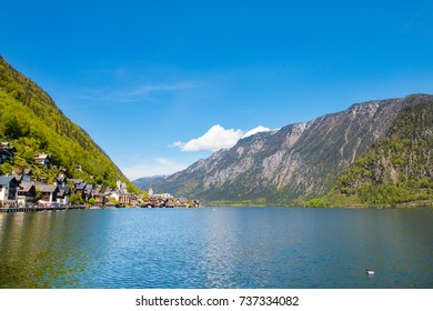 Beautiful landscape in Hallstatt,Austria.Beautiful lake and mountain view.House in the  Great Lakes.