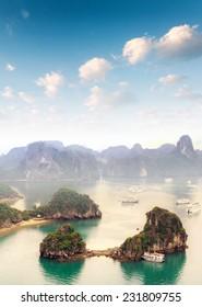 Beautiful landscape of Halong Bay in Vietnam South Asian sea. Popular travel destination