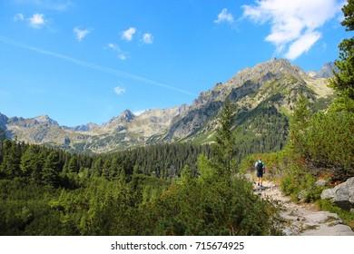 Beautiful landscape of High Tatras (Vysoke Tatry) national park, trail to Popradske Pleso, Slovakia