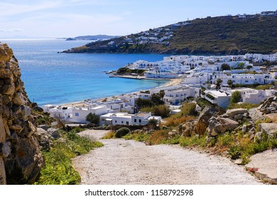 Beautiful landscape hight view of Mykonos Island at Greece.