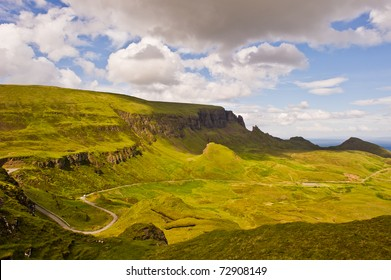 A beautiful landscape from a hill of Quiraing in isle of skye, Scotland