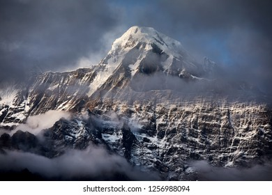 Beautiful landscape of Himalaya Mountain Annapurna surrounded by clouds in Nepal