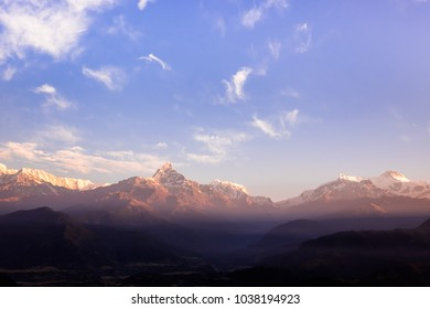 The beautiful landscape of the Himalaya mountains, Nepal. Sunrise time. Layered mountains. Pokhara, Nepal. Image with copy space. Nature background. Mountains background. Magic moment at the morning.