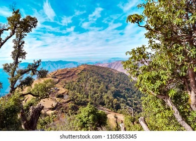 Beautiful landscape of Himalayan mountains from Nag Tibba, the highest peak in the lesser himalayan region of Garhwal, Uttarakhand, India. It lies at an altitude of 9,915ft from the sea level.