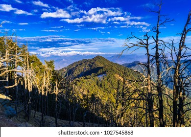 Beautiful landscape of Himalayan snow mountains from Nag Tibba, the highest peak  at an altitude of 9,915ft in the lesser himalayan region of Garhwal, Uttarakhand, India.