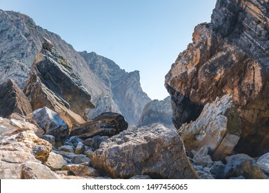 Beautiful landscape, huge grey rocks on a background of blue sky