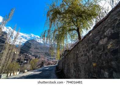 beautiful Landscape of Hunza Valley in spring season. Northern Area of Pakistan.