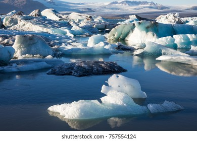 Beautiful landscape with icebergs from vatnajokull glacier floating in Jokulsarlon glacier lagoon, Iceland