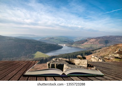 Beautiful landscape image of the Peak District in England  in pages of open book, story telling concept