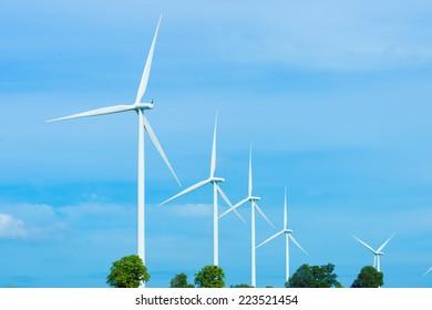 beautiful landscape image with Windturbine farm