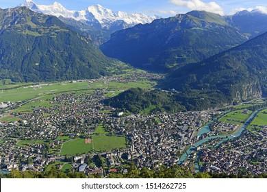 Beautiful landscape of Interlaken from view point of Harder Kulm, Switzerland.