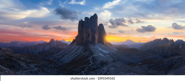Beautiful landscape in italy at sunset