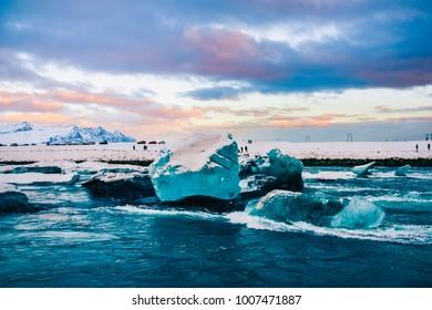 Beautiful landscape Jokulsarlon glacier lagoon, Iceland