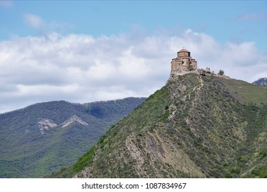 Beautiful landscape with Jvari Monastery against the background of mountains, a sixth century Georgian Orthodox monastery near Mtskheta, eastern Georgia (Europe), Caucasus