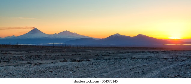 Beautiful landscape of Kamchatka Peninsula. Russian Far East.The volcano of Klyuchevskaya Hill (4800 m) is the highest active volcano of Eurasia.