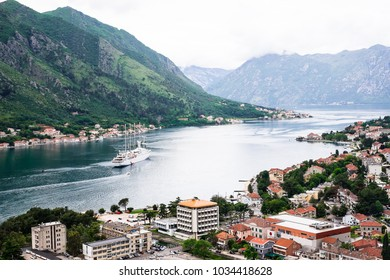 Beautiful landscape of the Kotor bay from the peak of Lovchen mountain in Kotor, Montenegro. Natute background. Bay of Kotor bay is one of the most beautiful places on Adriatic Sea.