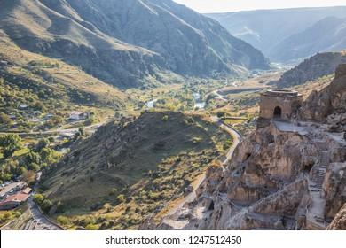 Beautiful landscape of the Kura river valley from cave monastery Vardzia, Georgia