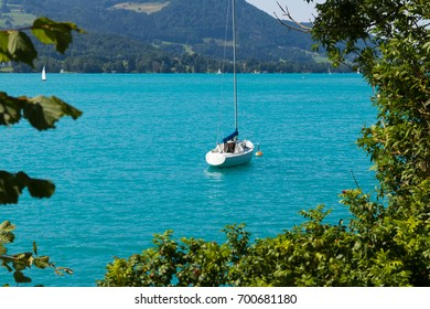 Beautiful landscape at lake Attersee in Steinbach, Salzkammergut in Austria