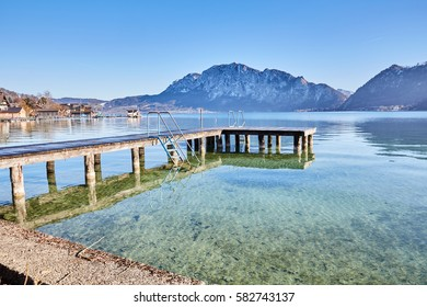 Beautiful landscape at lake Attersee in Unterach, Salzkammergut in Austria
